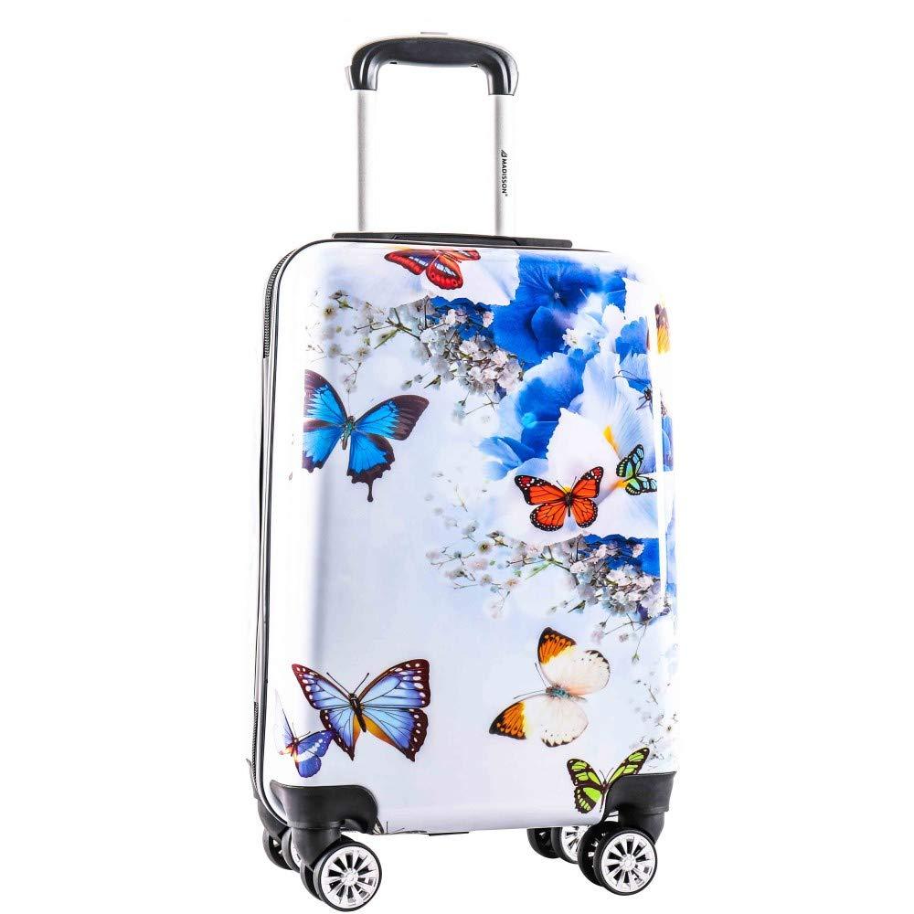 Valise Cabine Madisson Papillon Fleuris 55 cm bleu-AIC96820R Bleu MADISSON