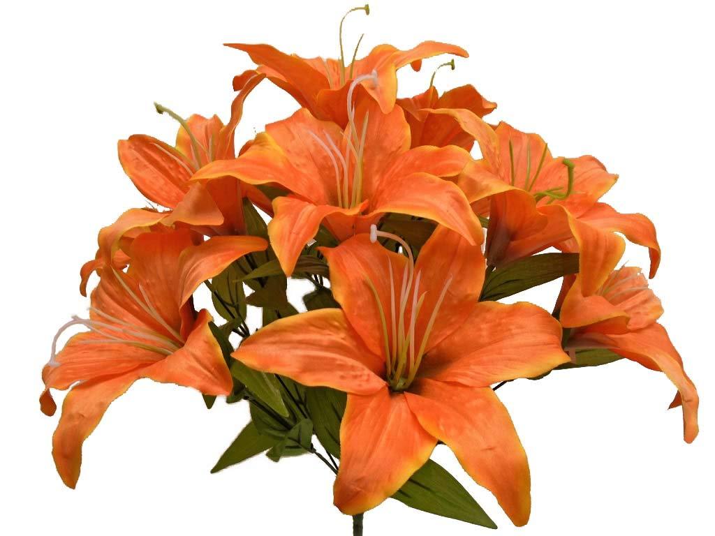 Amazon Phoenix Silk Tiger Lily Bush Satin 11 Artificial Flowers