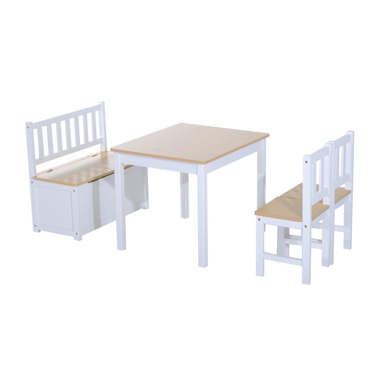 homcom 312-001 4-tlg. Kindersitzgruppe 1 x Kindertisch 2 x Kinderstuhl 1 x Kinderbank Kindermöbel Holz, weiß weiß MH Handel GmbH