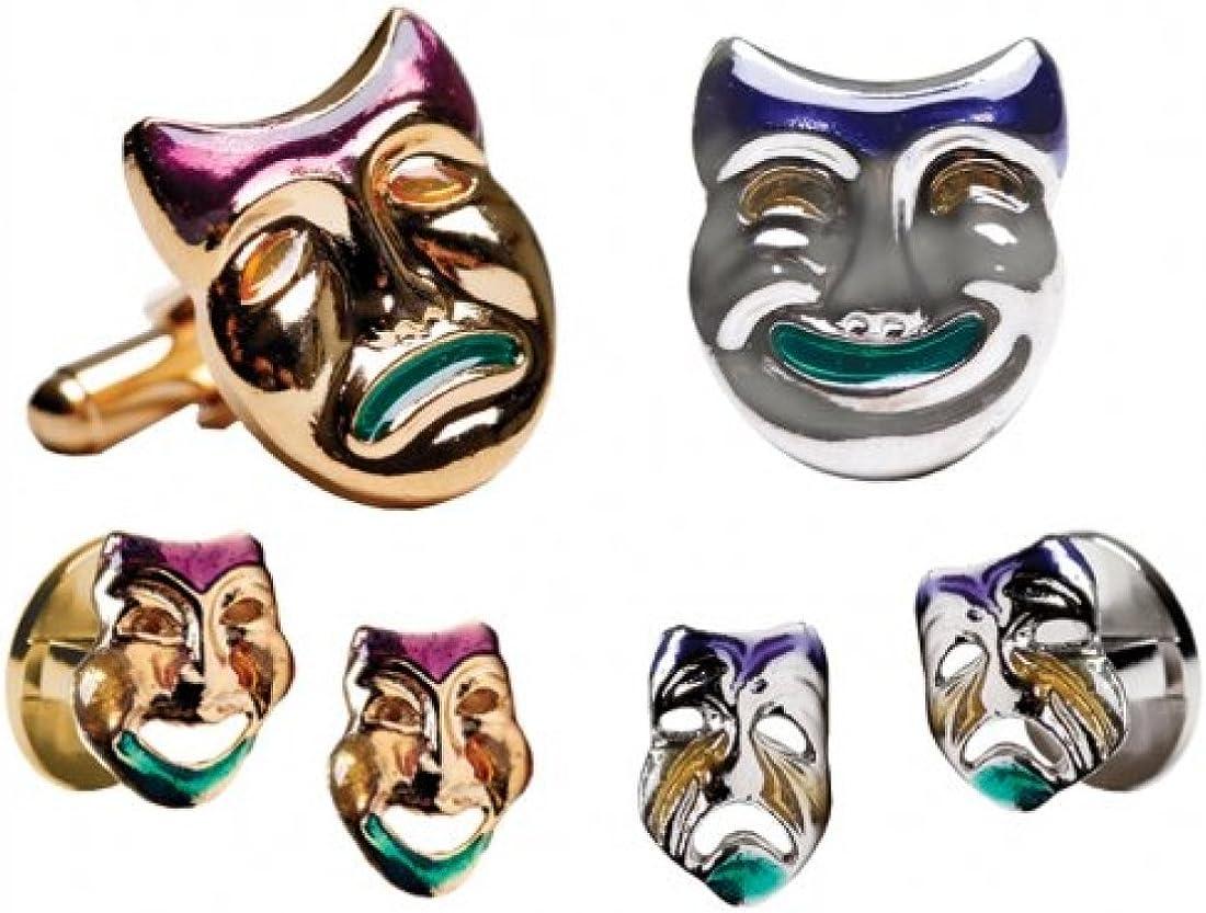 Mardi Gras Colored Comedy and Tragedy Cufflinks /& Studs