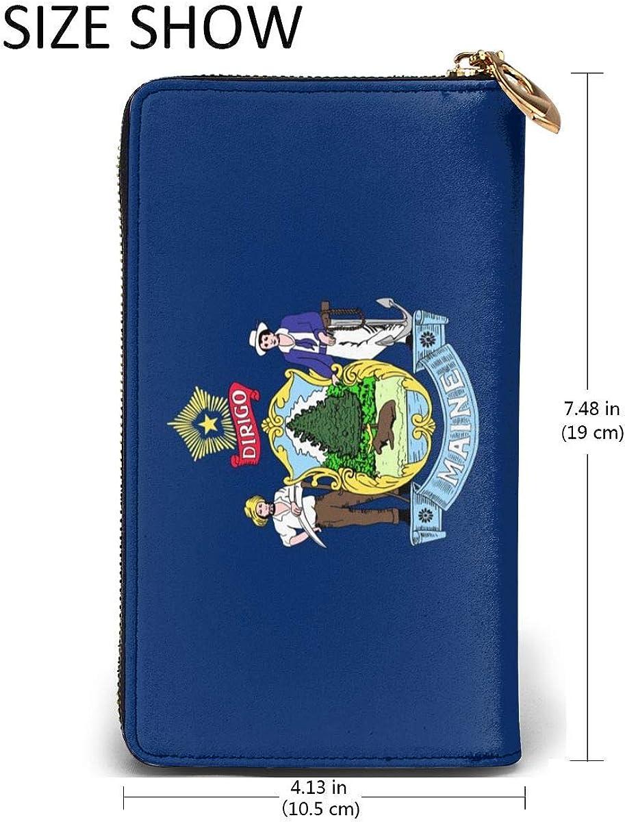 Maine Flag Wallets For Men Women Long Leather Checkbook Card Holder Purse Zipper Buckle Elegant Clutch Ladies Coin Purse