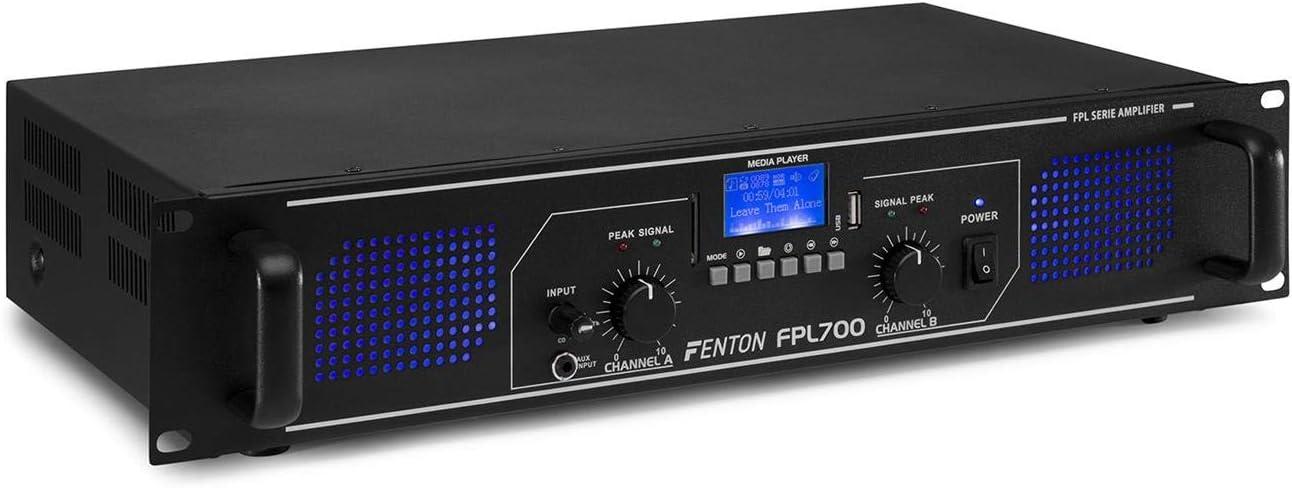 MP3 USB et SD particuliers et professionnels Technologie sans fil Bluetooth int/égr/ée Entr/ées RCA Prise jack 3.5mm Amplificateur digital LEDs bleues en fa/çade Parfait pour DJ Fenton FPL1500