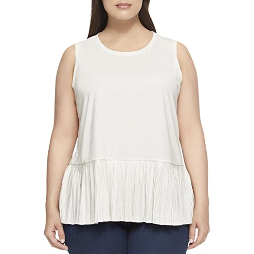 fab7a2dbe08 Tommy Hilfiger Plus Size Pleated Peplum-Hem Top (1X) at Amazon Women s  Clothing store