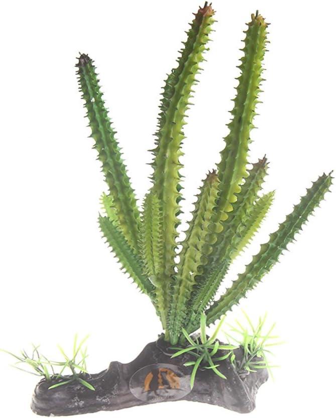 Emours Cactus Plastic Plant Aquarium Ornament Fish Tank Desert Reptile Decoration