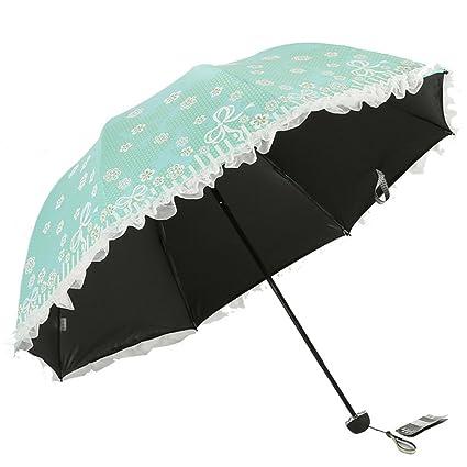 ZYLBB Moda Portátil Sombrilla Verano Sombra Protección UV Paraguas De Encaje Plegable Paraguas Transparente Vinilo Personalidad