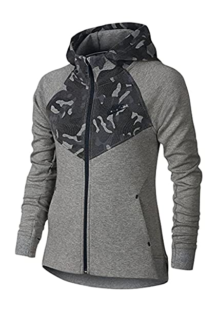 Nike Windrunner Tech Fleece - Carbon Heather/Black - Girls' Hoodie