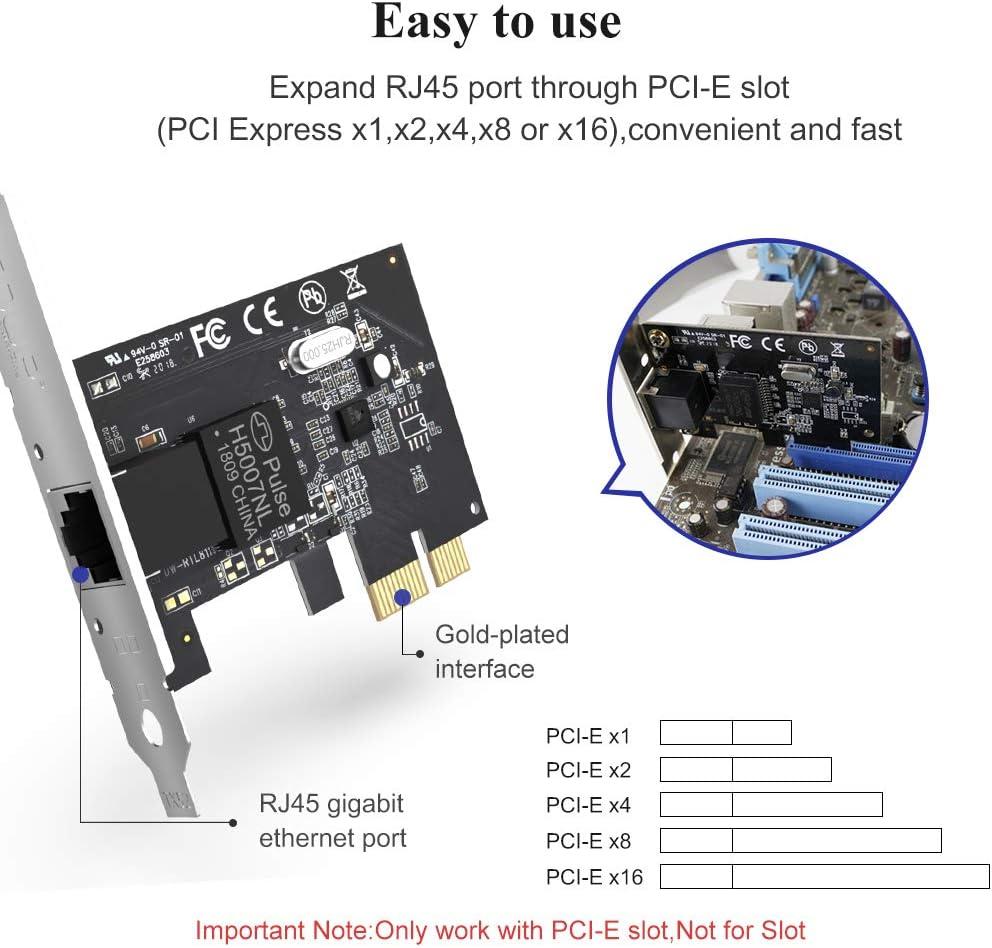 Support Win 7//8//10//XP//Vista Gigabit Ethernet PCI Express PCI-E Network Controller Card 10//100//1000Mbps RJ45 LAN Adapter Converter for Desktop PC