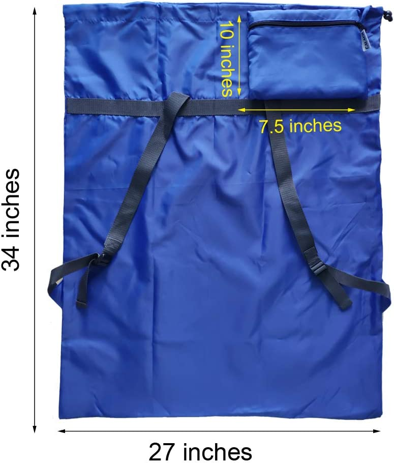 """CALACH Extra Large Laundry Bag Backpack 27/""""x34/"""" Sturdy and Tear Resistant Polyester Backpack with Drawstring Closure and Shoulder Strap Machine Washable College Dorm fold Travel Blue Laundry Bags"""