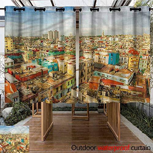 Sunnyhome Outdoor Curtains Travel Havana City Houses Waterproof Patio Door Panel W 63