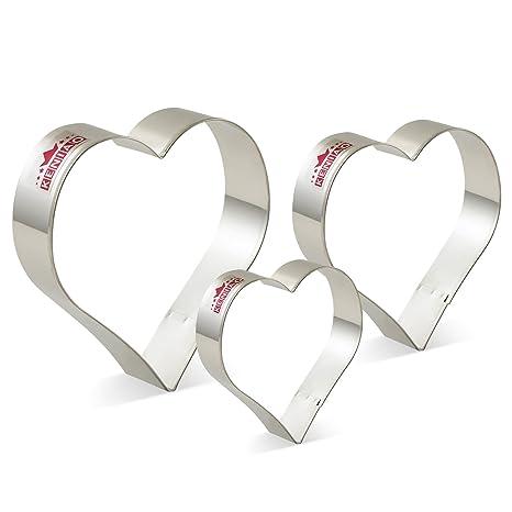 KENIAO Cortadores de Galletas Corazón Moldes para Galletas de Fondant - 3 Tamaños Diferentes - Grande