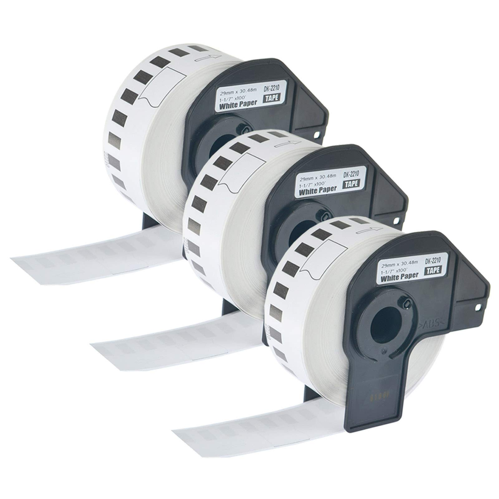 KCYMTONER 3 Rolls Compatible for Brother DK-2210 White Continuous Length Paper Tape Labels,1-1/7 Inches (29mm) by 100ft (30.48m), use in P-Touch QL-500 QL-650TD QL-1050 QL-1060N Series Label Maker