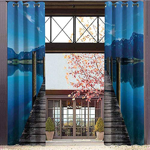 hengshu Seascape Shading Insulated Curtain Wooden Pier Jetty on Lake Serene Mountain and Clear Sky Reflection for Living Room or Bedroom W84 x L72 Inch Dark Blue Pale Blue Tan ()