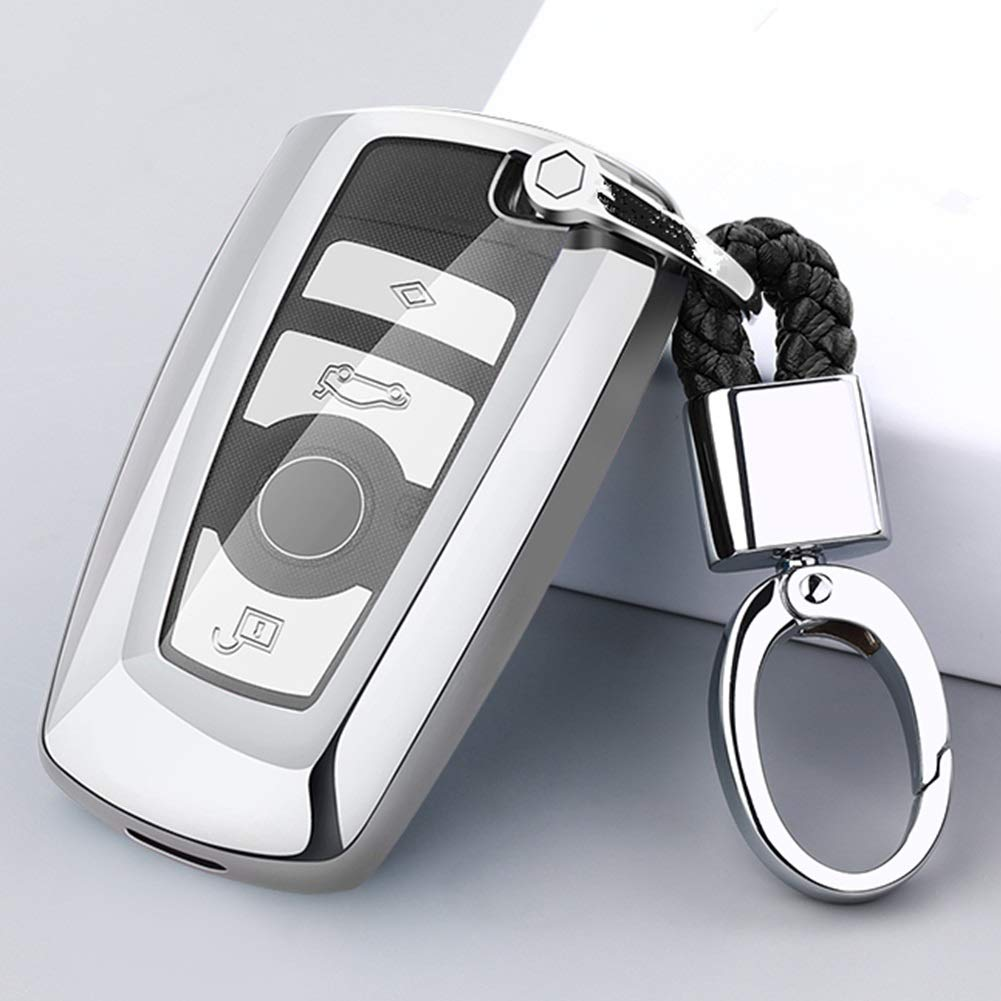 Silver Mofei for BMW Key Cover Fob Shell Case TPU Full Protector Holder with Key Chain Compatible with BMW 1 3 4 5 6 7 Series and X3 X4 M5 M6 GT3 GT5 3 Buttons Smart Key Remote Keyless Entry