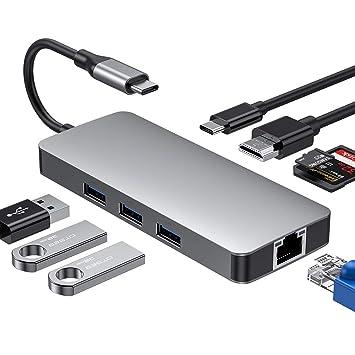 Hub USB C,USB C HUB,Adaptador USB Tipo C a HDMI 4K,3 USB 3.0,Gigabit Ethernet,Lector de Tarjetas SD/TF,Puerto de Carga Tipo C,para MacBook/MacBook Pro ...