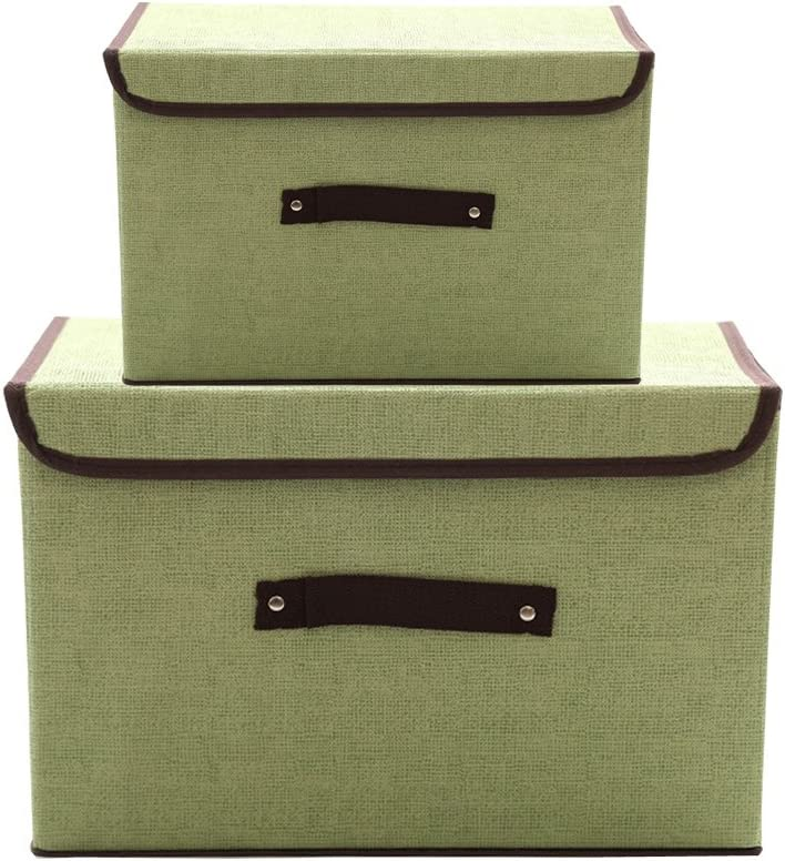 Mocofo Set of 2 Foldable Storage Box with Lids Sage Simple and Handles Storage Basket Storage Houseware Needs Containers Organizer with Built-in Cotton Fabric Closet Drawer Removable Dividers