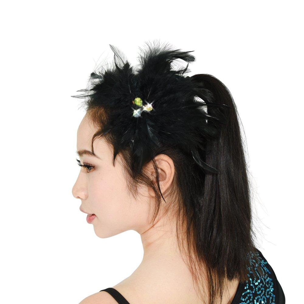 MiDee Neon Rhinestone Feather Hair Flower Dance Headpiece Accessories Red