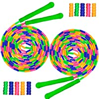 Coolrunner 16 FT Long Jump Rope(2 Pack), Double Dutch Jump Rope, Soft Beaded Skipping Rope for Kids Adults, Plastic Segmented Jump Rope, Long Enough for 4-5 Jumpers(Rainbow) (Style 1)