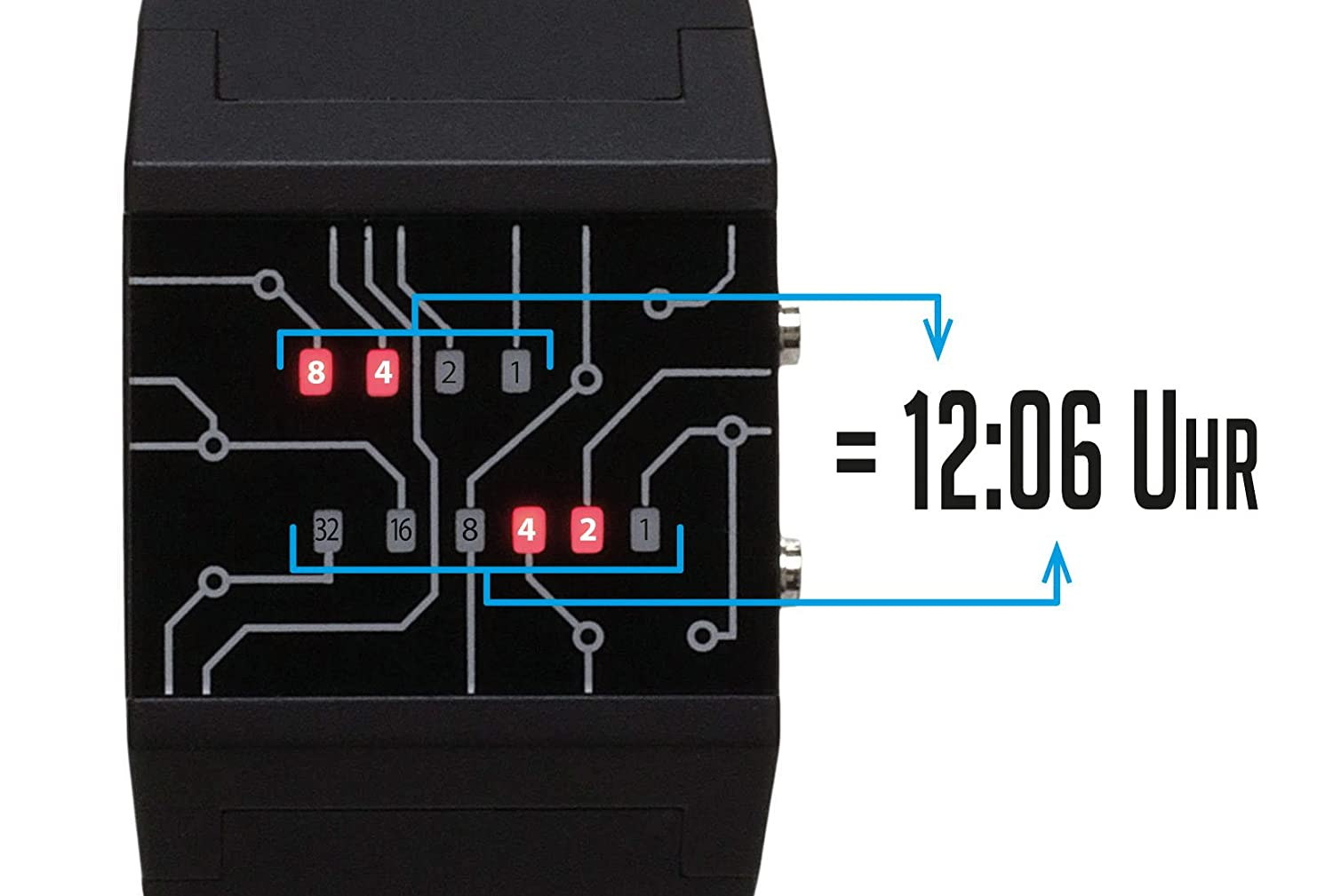 Getdigital Binary Wrist Watch For Professionals With Led Download Image 8 Bit Decimal To Converter Circuit Pc Android Lights A Black Digital Clock That Depicts The Time As Code Watches