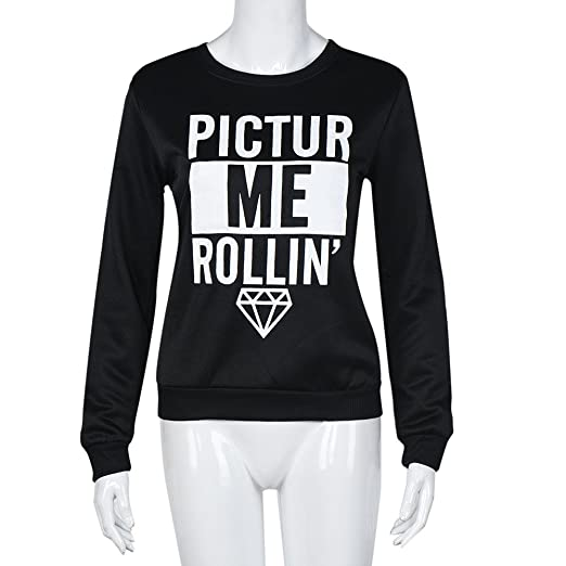 Lmtime Women Fashion Letters Printed Sweatshirt Long Sleeved Pullover Short Paragraph Sportshirt Round Collar Tops