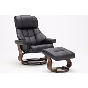 Madison Home Mid Century Modern Bonded Leather Lounge Swivel And Recliner  Chair With Foot Stool Ottoman