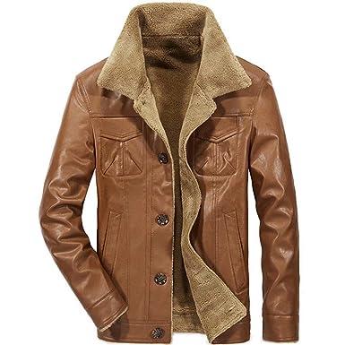 14a233c7f visionreast Men's Sherpa Jacket PU Leather Warm Lapel Winter Parka ...
