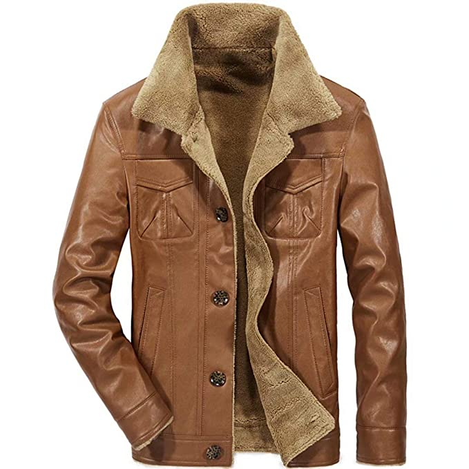 12c3b79c40df Image Unavailable. Image not available for. Colour  visionreast Men s  Sherpa Jacket PU Leather Warm Lapel Winter Parka Coat Black Brown Blue  Motorcycle ...