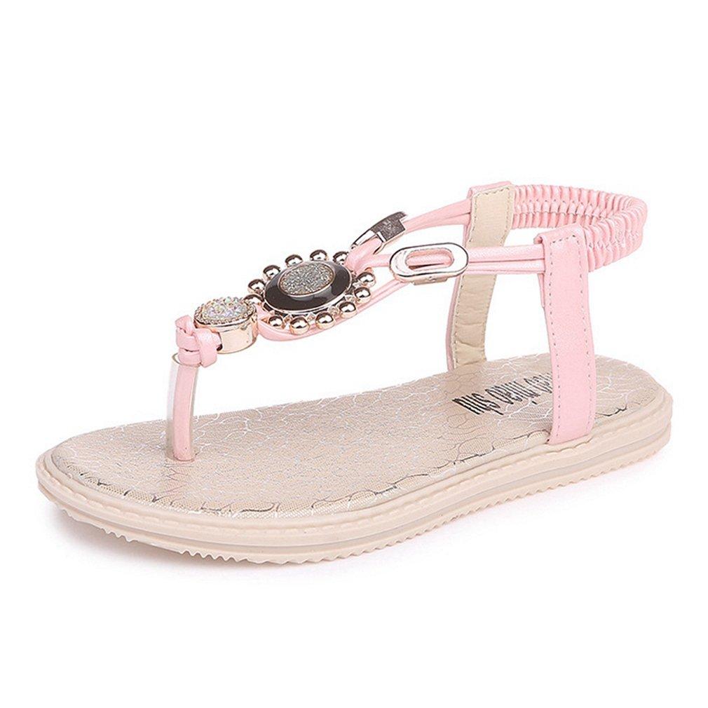 Girls Rhinestone T Strap Sandals Slingback Flip Flops Beach Thong Flats