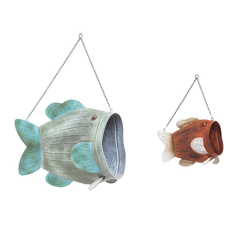 Cape Craftsmen Vintage Hanging Metal Fish Planters, Set of 2 by Cape Craftsmen