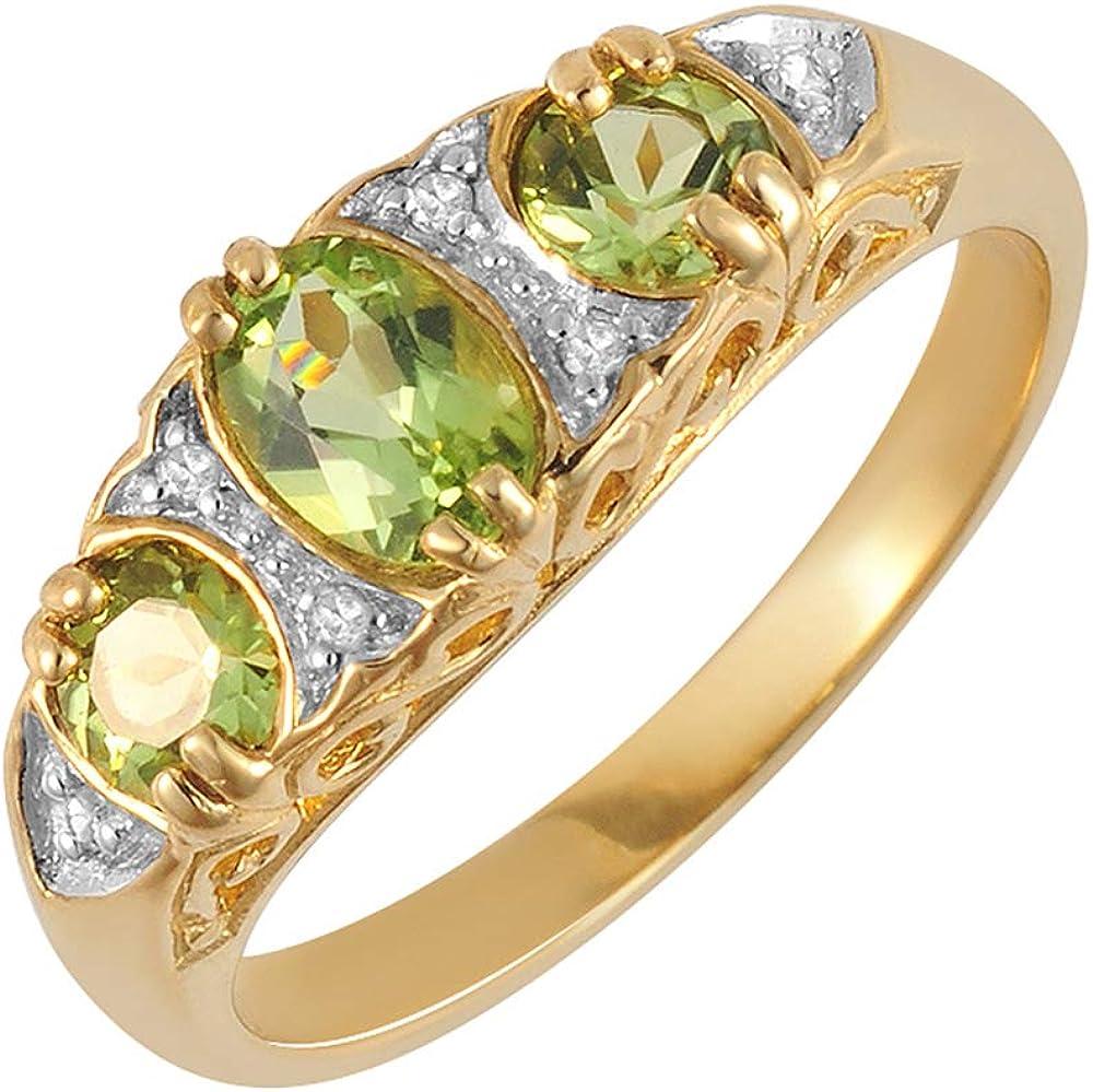 Bague - 181R0731-34 - Anillo de mujer de oro amarillo (9k) con diamantes y peridotos