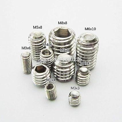 Ochoos 50pcs Metric Stainless Steel Allen Head Socket Hex Set Grub Screw Cup Point M3x3mm M4x4mm M5x5mm M6x6mm M8x8mm Dimensions: M5x5mm