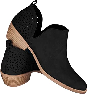softome Women Ankle Boots Low Chunky