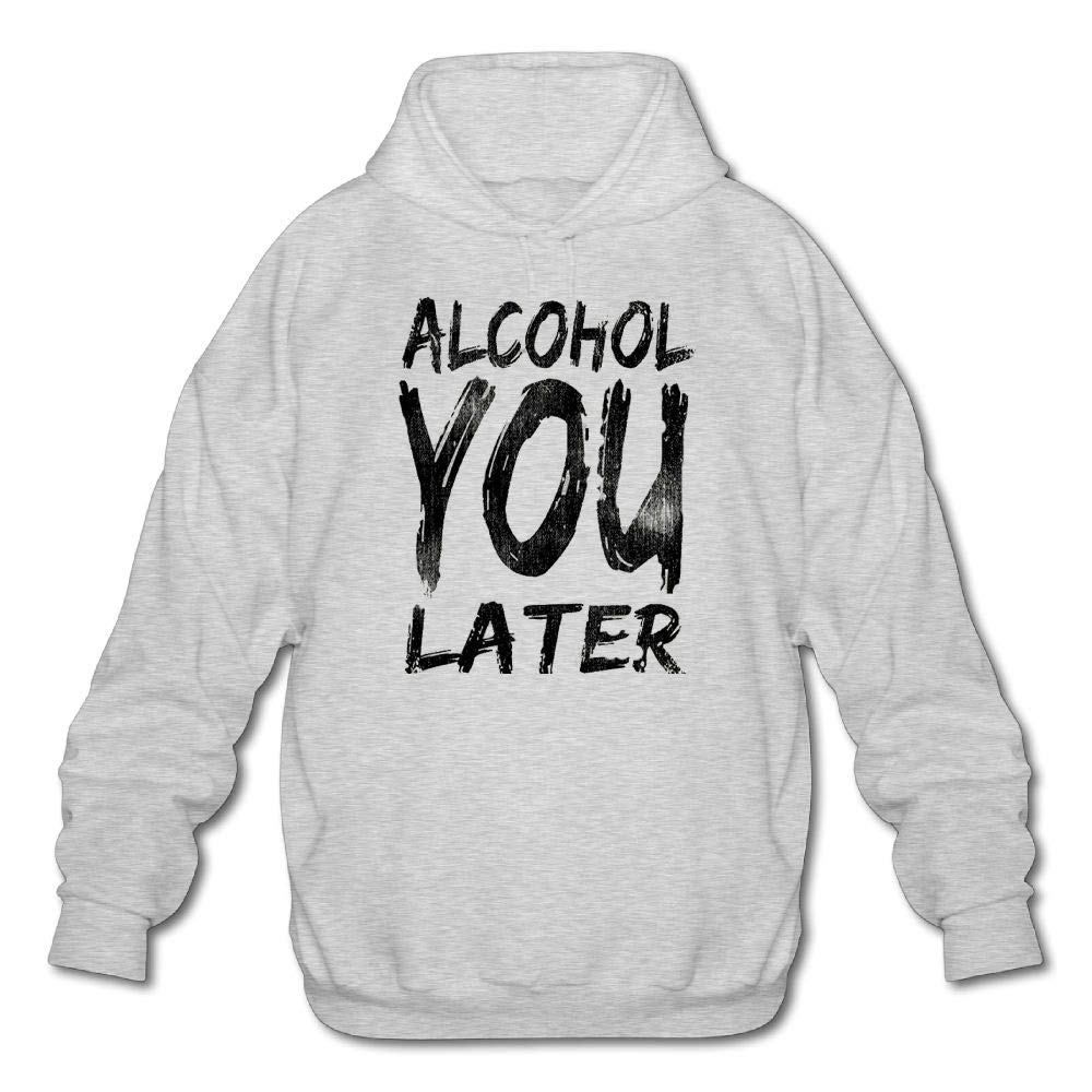 Haoshouru Mens Long Sleeve Cotton Hoodie Alcohol You Later Sweatshirt