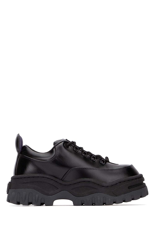 - EYTYS Women's ANLB002BLACK Black Leather Sneakers