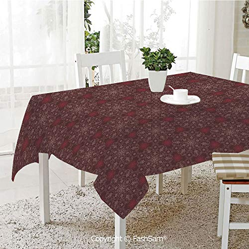AmaUncle Party Decorations Tablecloth Detailed Ornate Flowers Curves Swirls Petals Dusky Victorian Garden Theme Decorative Table Protectors for Family Dinners (W55 - Multi Gemstone Swirl