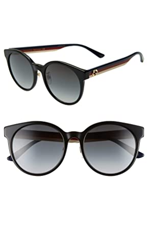 fa40b6052d Gucci GG0416SK 001 Sunglasses Black Multicolor Frame Grey Gradient Lenses  55mm  Amazon.co.uk  Clothing