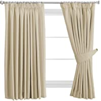 "H.Versailtex Solid Thermal Insulated Blackout Pencil Pleat Anti - Mite Curtains for Bedroom with Two Free Tiebacks - Dark Brown, Energy Saving & Noise Reducting, 46"" Width x 54"" Drop, Set of 2 pieces"