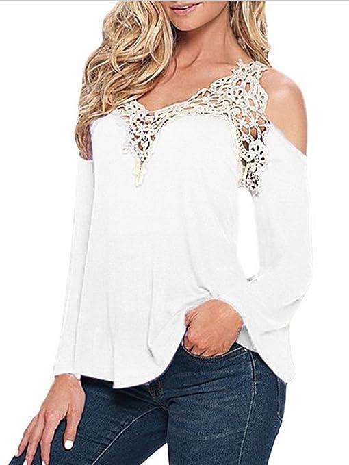 LaoZan Mujer De Manga Larga Camisa Crochet De Encaje Casual Suelto Blusa Tops Camiseta De La Señora Blanco 2XL: Amazon.es: Deportes y aire libre