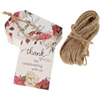 Baosity 50x Thank You Wedding Kraft Paper Tag Label Favor Gift Tags with Jute Twine