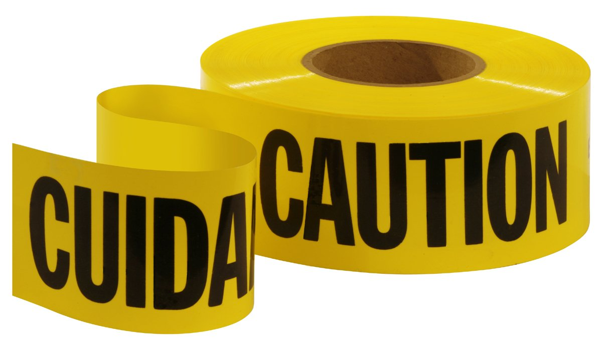 Empire 77-1002 Caution/Cuidado Tape Yellow with Black Ink, 1000-Feet by 3-Inch