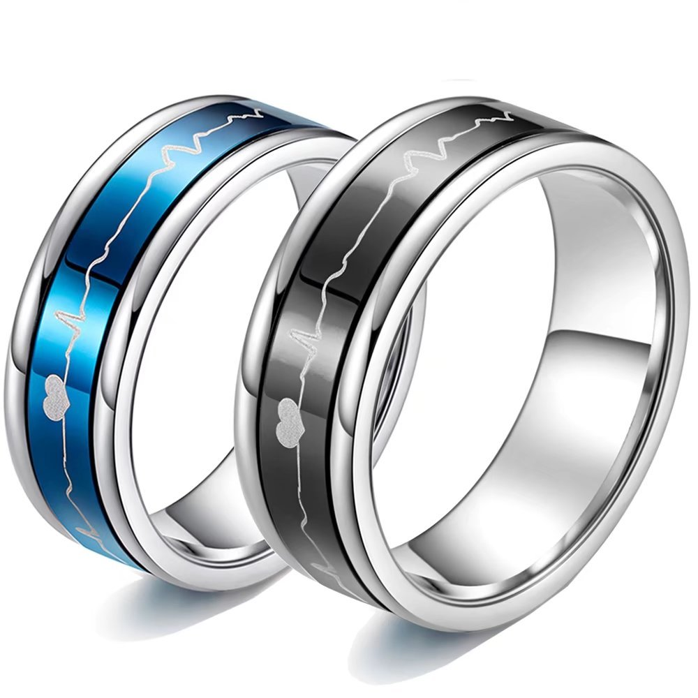 Romantic Matching Couple Rings Titanium Steel Wedding Bands Comfort Fit ECG HeartBeat Rotating Style His and Her Promise Special Gifts Blue Size 10 US