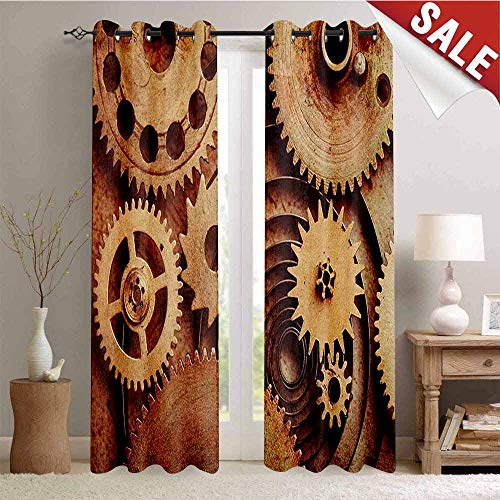 Hengshu Industrial Waterproof Window Curtain Inside The Clocks Theme Gears Mechanical Copper Device in Steampunk Style Print Decorative Curtains for Living Room W72 x L96 Inch Cinnamon