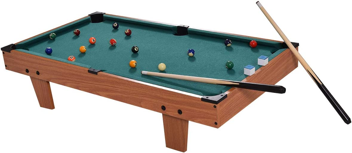 GYMAX Mini Pool Table, Tabletop Pool Set Billiards Game Set Includes Game Balls, Sticks, Chalk, Brush and Triangle Green, 36