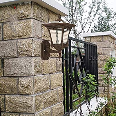 Ganeep Solar Energy Outdoor Balcony Wall Lamp Vintage Waterproof Aluminum Glass Wall Light LED Lamp Beads Single Head Decoration Lighting Fixture for Balcony Patio Front Door Garden