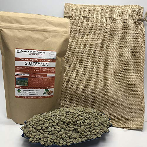2 Pounds - Central American - Guatemala - Unroasted Arabica Green Coffee Beans - Grown in San Marcos Region - Altitude 1800M - Drying/Milling Process Washed - Finca Nueva Granada - Includes Burlap Bag