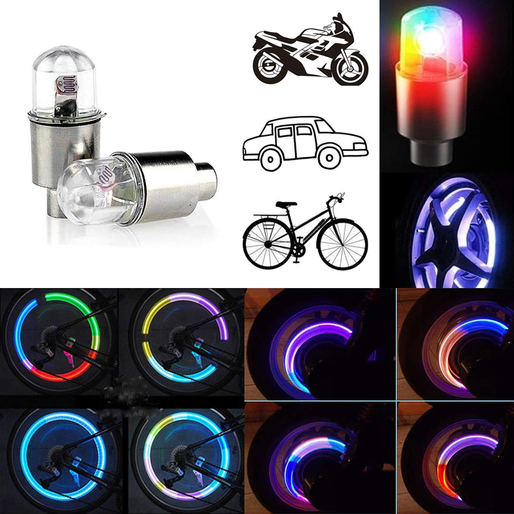 CJRSLRB 2Pack Bike Wheel LED Lights, Car Bicycle Tire Valve Cap Light, Waterproof Double Sense Colorful Flashing Lights Suitable for Bicycle, Car, Motorcycle