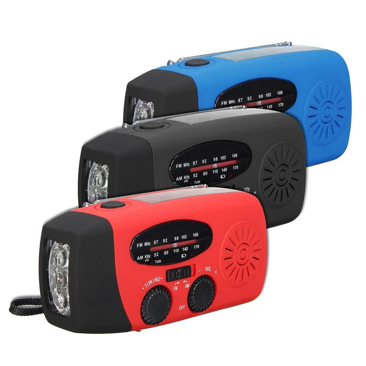 Solar AM FM Radio Emergency Wind Up Hand Crank 3 LED Lantern Light Power Bank ( Blue ) by BuyShopCentral Electronics