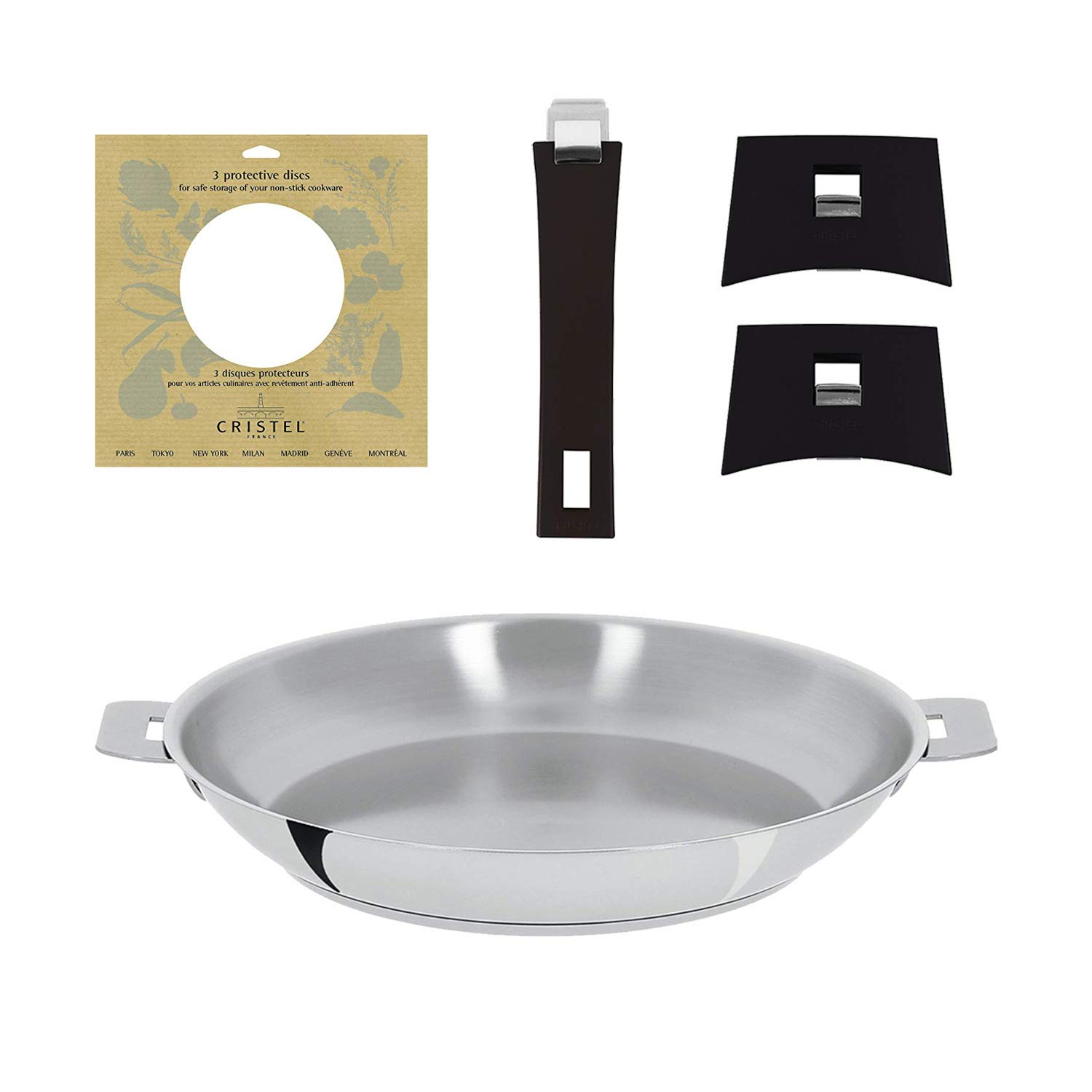 Cristel P24Q Mutine 9.5-Inch Fry Pan with Handles and Protection Pads, Silver 141[並行輸入]   B07JF94M4L