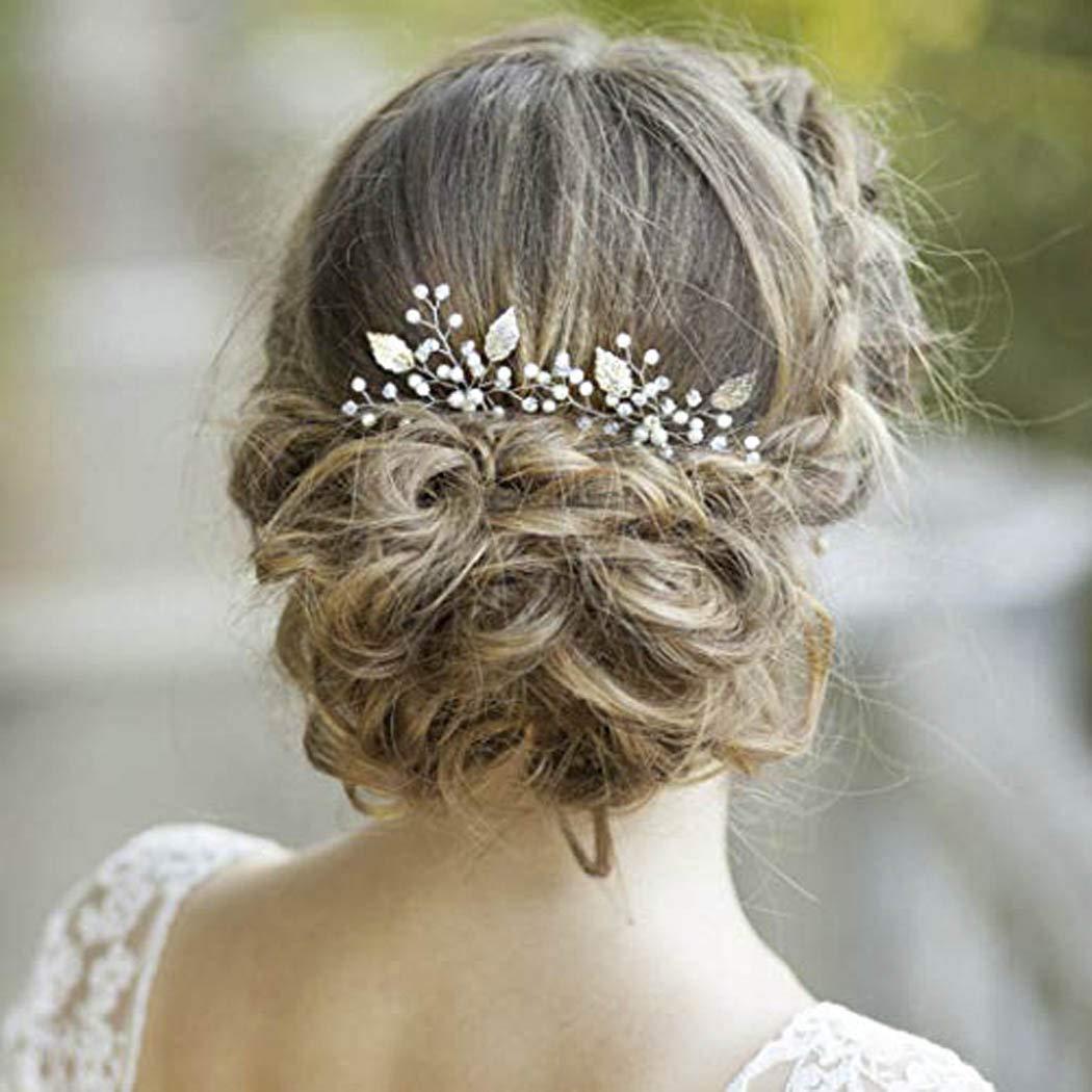 30eae3fe1ab8b Yean Silver Bridal Hair Pins Bride Wedding Pearl Leaf Hair Accessories for  Women and Girls (Set of 2) (Silver)