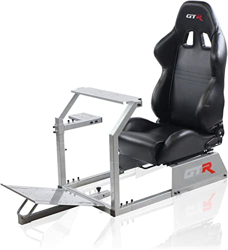GTR Simulator – GTA Model with Real Racing Seat, Driving Racing Simulator Cockpit Gaming Chair with Gear Shifter Mount