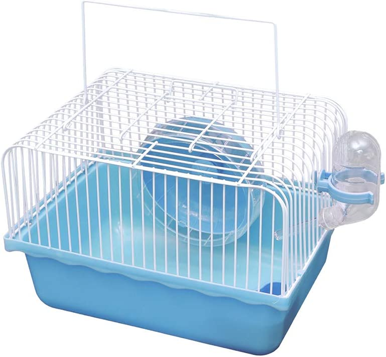 JUILE YUAN Portable Hamster Cage, Critter Carrier with Running Exercise Wheels, Water Bottle, for African Miniature Rabbit Chinchilla Squirrel and Other Small Animals Travel Outdoor